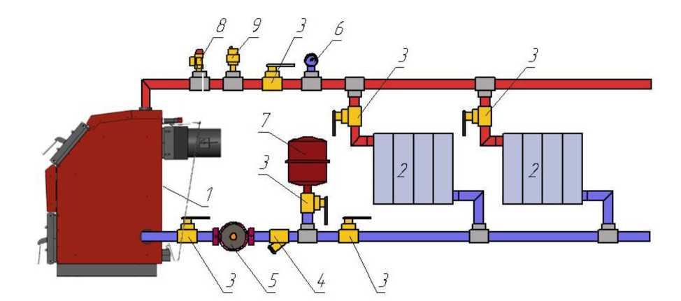 Схема подключения котла к двухтрубной закрытой системе с принудительной циркуляцией теплоносителя.jpg
