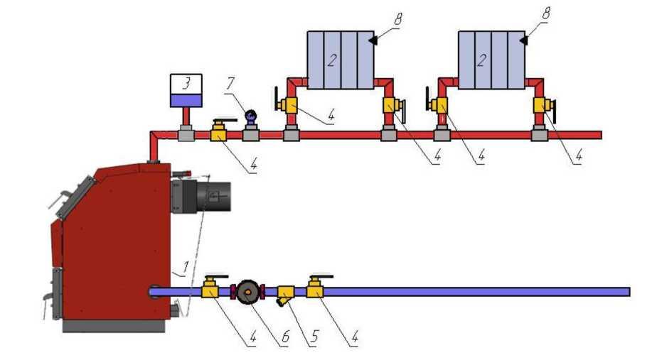 Схема подключения котла к однотрубной открытой системе с принудительной циркуляцией теплоносителя.jpg