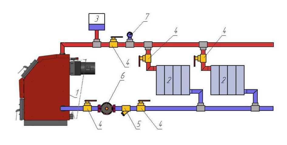 Схема подключения котла к открытой системе с естественной циркуляцией теплоносителя..jpg